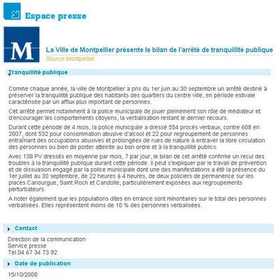 Communiqué de presse de la mairie de Montpellier sur bilan de l'arrêté tranquillité publique