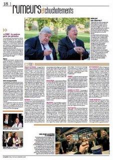 La page 'Rumeurs et chuchotements' où il est question du régime de Louis Nicolin et Georges Frêche
