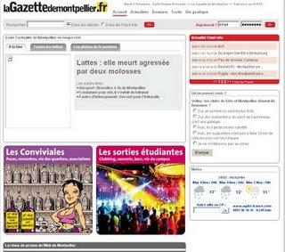 La page d'accueil du futur site de La Gazette de Montpellier