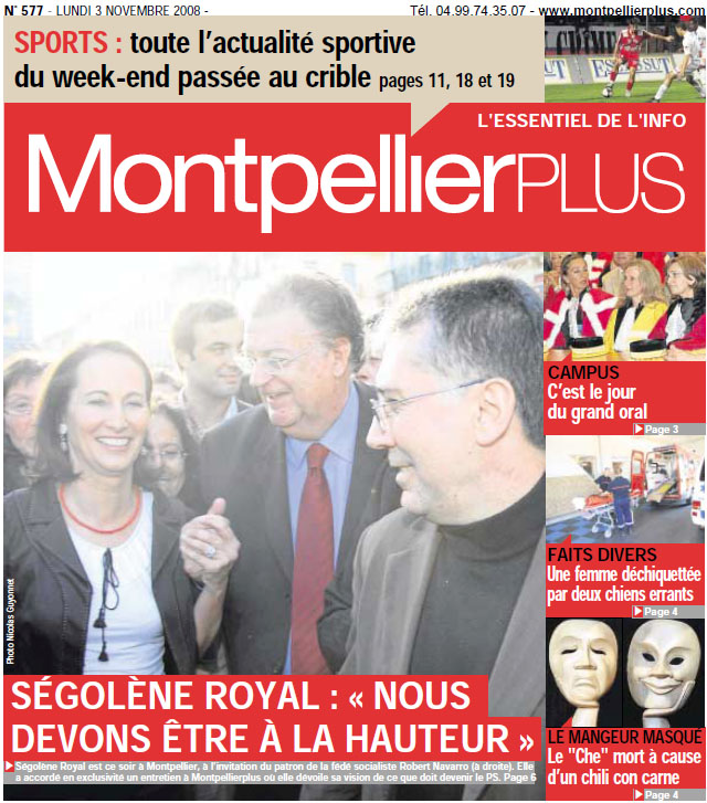 Ségolène Royal en Une de Montpellier plus avec Robert Navarro