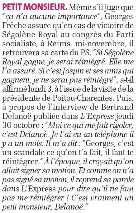 La brève relatant en partie les propos de Georges Frêche