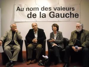 René Revol, Jean-Louis Roumégas, Christine Lazerges, François Liberti le 24 mars 2009 (photo : Mj)