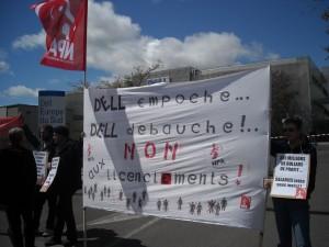 Manifestation devant le site de Dell à Montpellier le 29 avril 2009 (photo : Mj)