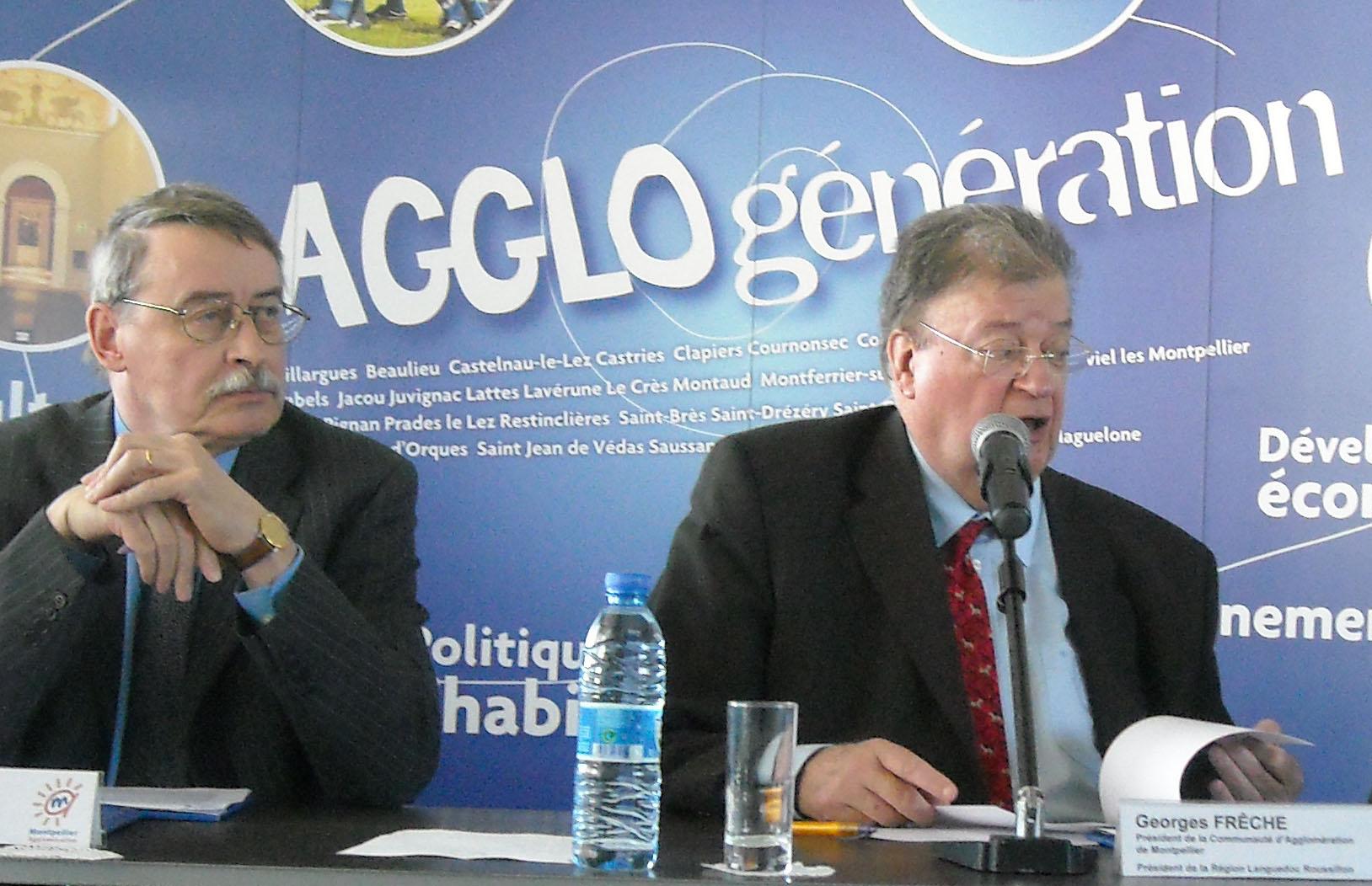 François Delacroix et Georges Frêche le 17 mars 2009 (photo : Mj)