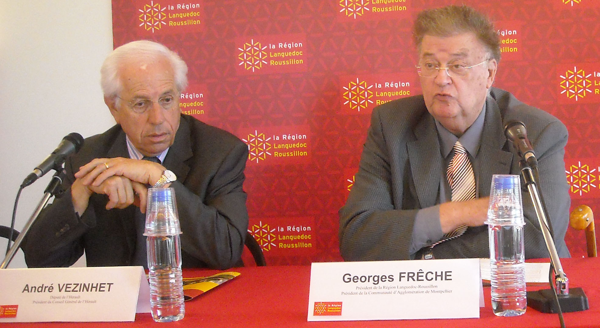 André Vezinhet et Georges Frêche le 20 mai 2009 (photo : Mj)