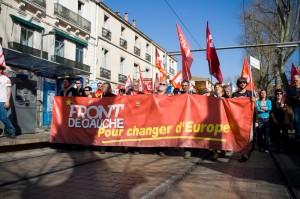 Le Front de gauche dans la manifestation du 19 mars à Montpellier (photo : Xavier Malafosse)