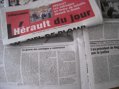 L'Hérault du jour du 1er octobre (photo : Mj)