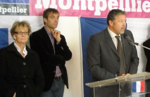 Hélène Mandroux, Michael Delafosse, Laurent Blondiau le 16 octobre 2009 à Montpellier (photo : Mj)