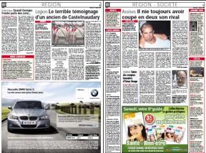 Cherchez le papier dans cette double page de Midi Libre du 27 février 2009