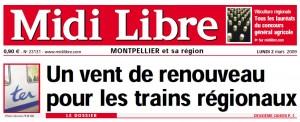 La Une de Midi Libre du 3 mars 2009