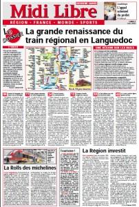 La première page du 2e cahier de Midi Libre du 2 mars 2009