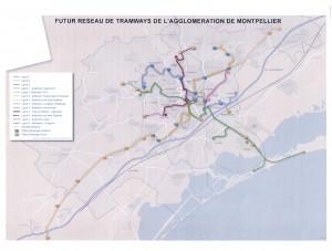 La carte du réseau de tramway de Montpellier d'ici 2020 (source : agglomération de Montpellier)