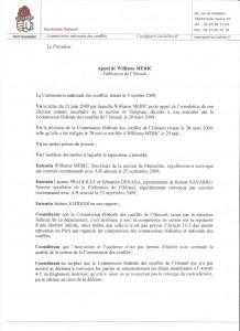La première page de la décision de la Commission nationale des conflits du Parti socialiste concernant la fédération de l'Hérault