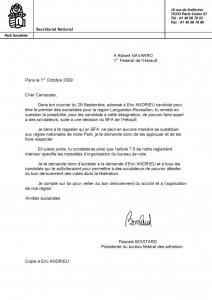 Courrier de Pascale Boistard à Robert Navarro