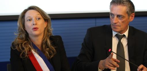 Stéphanie Jannin et Philippe Saurel le 5 avril 2014 le jour de l'investiture du maire de Montpellier (photo : J.-O. T.)