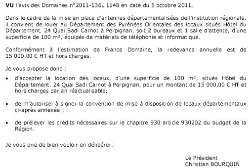 Extrait de la délibération votée par la commission permanente de la région Languedoc-Roussillon concernant les locaux loués au CG66
