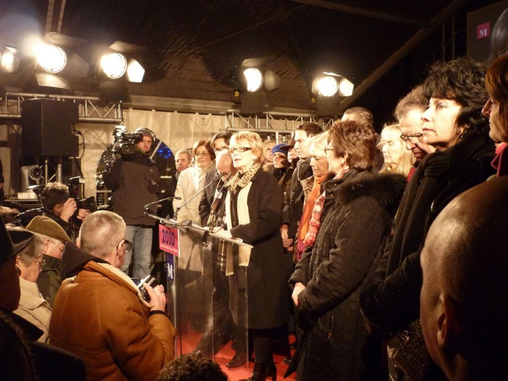 Hélène Mandroux le 7 janvier place Jean Jaurès à Montpellier pour ses voeux à la population (photo : J.-O. T.)