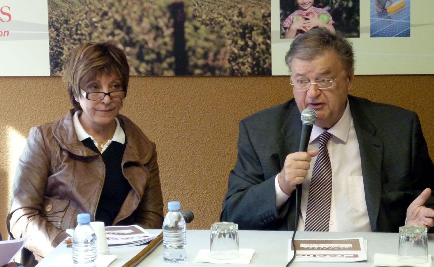 Josianne Collerais et Georges Frêche le 2 mars 2010 à Montpellier (photo : Mj)