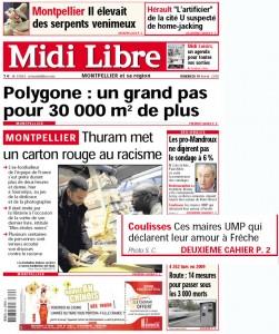 La Une de Midi Libre le 19 février 2010