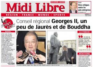 Dans Midi Libre au lendemain de l'investiture de Georges Frêche le 26 mars 2010