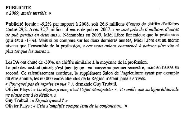 Extrait du compte rendu du CE de Midi Libre du 11 février 2010