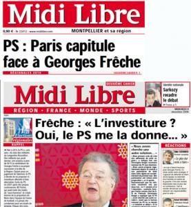 La Une de Midi Libre et celle de son deuxième cahier le 9 décembre 2009 après le choix du PS de ne pas investire Georges Frêche pour les régionales (montage)