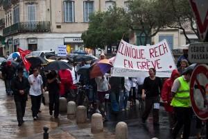 Manifestation des salariés en grève de cliniques privées à Montpellier le 10 juin 2010 (photo : Mj)