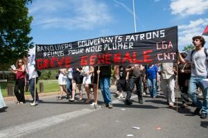 Cortège CNT-CGA lors de la manifestation du 27 mai 2010 à Montpellier (photo : Xavier Malafosse)