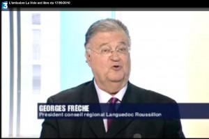 Georges Frêche le 17 septembre 2010 sur le plateau de la Voix est libre sur France 3 (photo : copie d'écran de la vidéo)