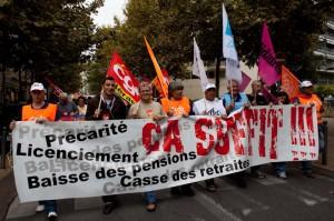 Tête de la manifestation pour les retraites à Montpellier le 7 septembre 2010 (photo : Mj)