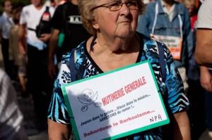 Dans la manifestation pour les retraites à Montpellier le 12 octobre 2010 (photo : Mj)