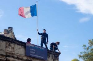 Manifestation à Montpellier devant le lycée Clémenceau le 12 octobre 2010 (photo : MJ)