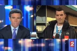 Interview de Xavier Mathieu (CGT Continental) par David Pujadas le 21 avril 2009 (copie d'écran de la vidéo extraite de Fin de concession)