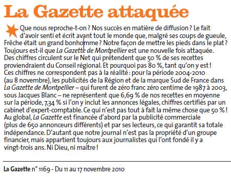 Dans La Gazette de Montpellier du 11 novembre 2010