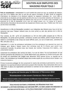 Tract du syndicat Sud sur les Maisons pour tous de Montpellier