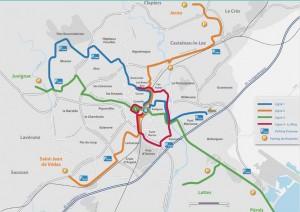Plan du réseau de tramway de Montpellier au 9 juillet 2010 (source : Montpellier agglomération)