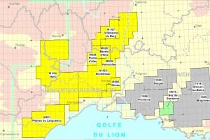 En jaune les permis d'exploration accordés (source : Bureau d'exploration-production des hydrocarbures)