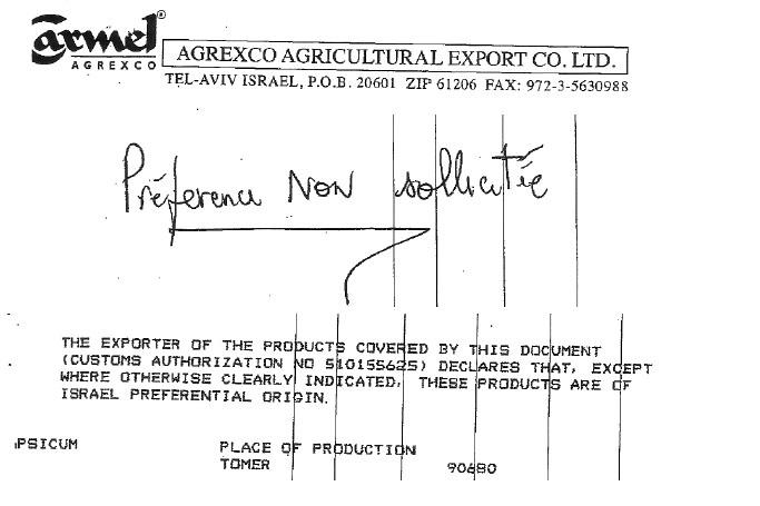 Extrait de déclarations d'importation d'Agrexco concernant des produits issus des colonies israéliennes en Cisjordanie