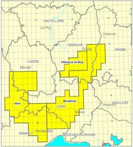 Carte des permis d'exploration de gaz de schiste du sud de la France (source : bureau exploration-production des hydrocarbures)
