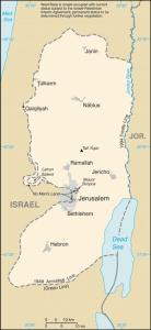 Carte de la Cisjordanie (source : Central intelligence agency via Wikipedia)
