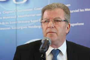 Jean-Pierre Moure, président de l'agglomération de Montpellier le 15 janvier 2011 (Photo : J.-O. T.)