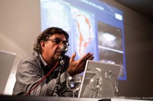 Thierry Salomon de l'association Négawatt le 24 mars 2011 au Corum de Montpellier à une réunion sur le gaz de schiste organisée par Europe écologie-Les Verts (photo : Xavier Malafosse)