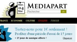 Page d'accueil de Mediapart