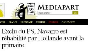 Exclu du PS, Navarro est réhabilité par Hollande avant la primaire (Mediapart)