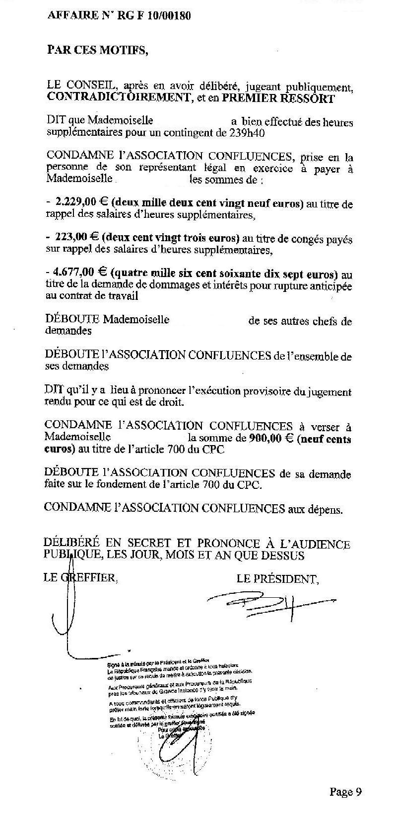 Extrait du jugement des prud'hommes de Montpellier du 8 juillet 2011