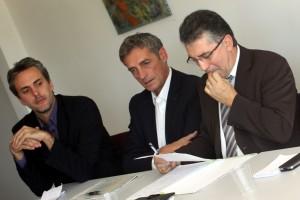 Sébastien Denaja, Philippe Saurel et Robert Navarro le 13 octobre 2010 à Montpellier (photo : J.-O. T.)