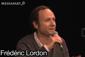 Frédéric Lordon le 6 octobre 2011 à Paris à l'invitation de Mediapart (photo : copie écran de la vidéo de Mediapart)