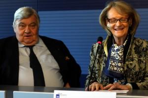 Louis Nicollin et Hélène Mandroux le 13 décembre 2011 à l'Hôtel de ville de Montpellier (photo : J.-O. T.)
