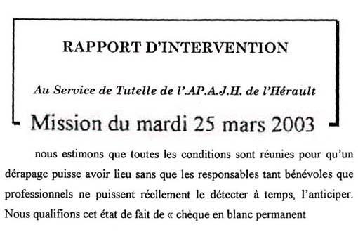 Rapport de la FNAT sur le service de tutelle de l'APSH 34 (ex APAJH 34) en mars 2003 (montage)