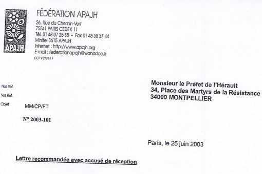 Extrait du courrier de la fédération des APAJH au préfet de l'Hérault concernant l'APAJH 34